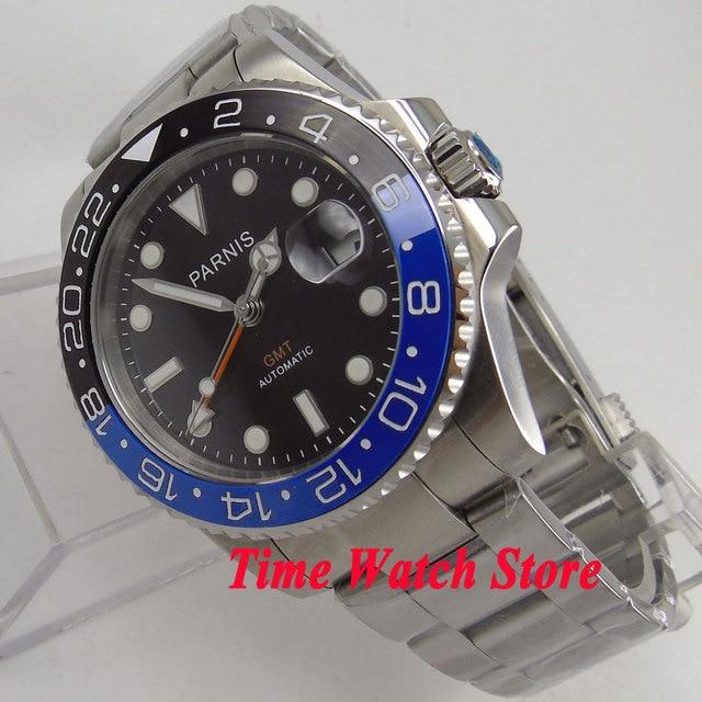 c4cfd12236c Parnis 40mm black dial sapphire vidro azul painel de cerâmica preta  pulseira GMT relógio Dos Homens