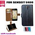 Couro Flip Smartphone capa SENSEIT E400 Slots de cartão carteira bolsa capa em estoque! Transporte da gota livre