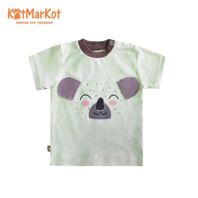Футболки, КОТМАРКОТ, 7798 г., для детей, футболка с короткими рукавами, трикотажная футболка одежда для малышей хлопок, кот, sotmarket, унисекс, повседневная одежда с животными