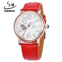 Деловые часы Для женщин Shenhua Марка золото полые Скелет Самовзводные кожаным ремешком Повседневное Рейн алмаз Наручные часы