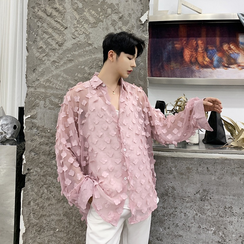 Men Loose Long Sleeve Thin Translucent Sexy Casual Shirts Male Women Lovers Streetwear Hip Hop Pink Party Dress Shirts