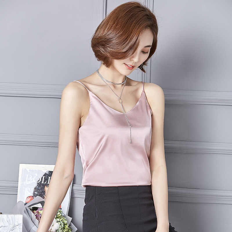 9c90ddcf15af03 ... New 2018 Sexy Tank Top Women Silk Camis Fashion V-Neck Sleeveless Shirt  Solid Color ...
