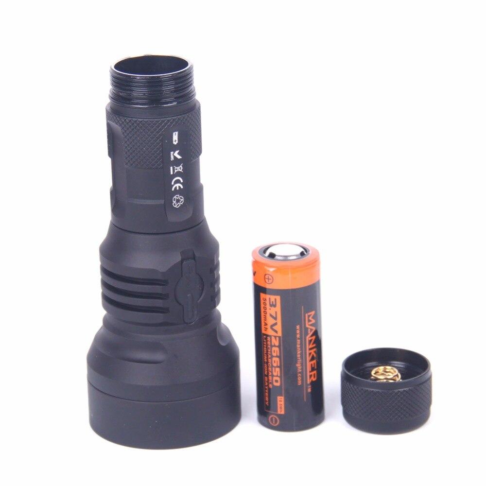 Image 2 - Manker U21 26650 Flashlight 1560 Lumen Cree XPH35 HI LED Flashlight 700Meters Thrower Torch + 5000mAh 26650 Rechargeable Battery-in LED Flashlights from Lights & Lighting