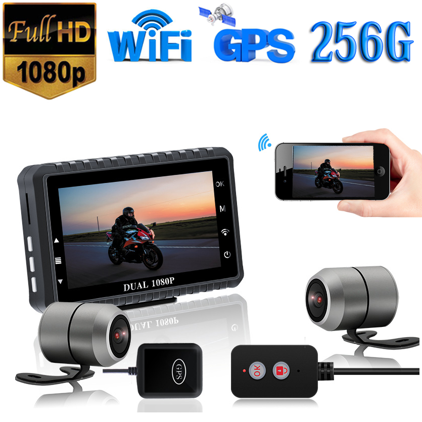 3.0/'/' 1080P WIFI FHD Motorcycle Cameras Waterproof Front/&Rear View DVR GPS
