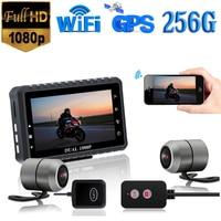 GPS WIFI FHD HD 1080P 256G 128G 64G Kamera Motorrad DVR Vorne Hinten Dual Kamera Fahren video Recorder Dash Cam Moto Bike Nacht auf