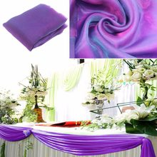 cadbury purple 10M*1.35m Organza fabric Wedding Decoration table top curtain Party Chair Sash Bow Table Runner Swag table skirt(China)