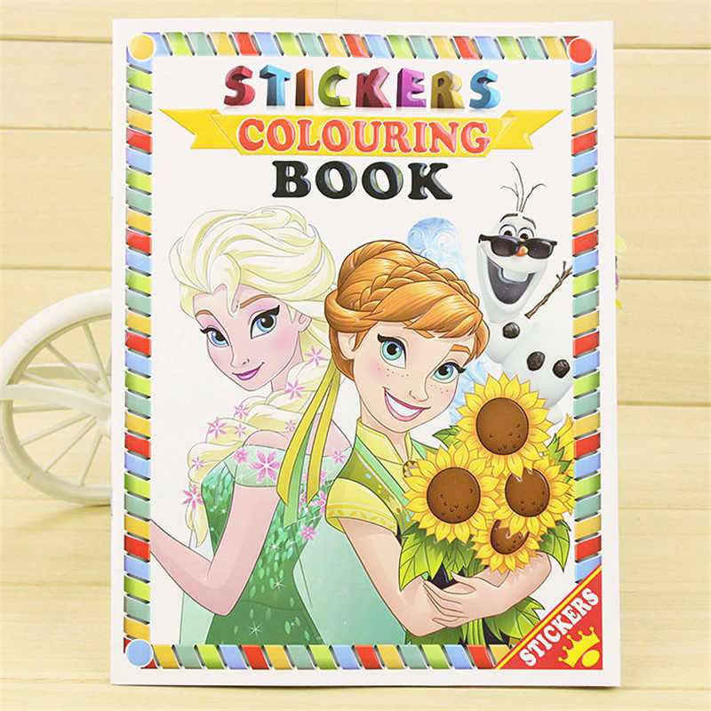 16 pages Snow Princess Girls Coloring Book Sticker Book For Kids Children  Adults Colouring Painting Drawing story color books
