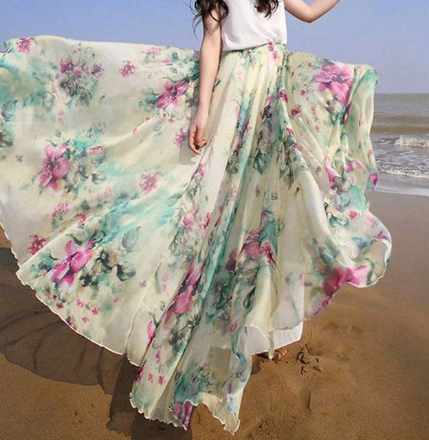 0a8dc100e KAYWIDE S-XLFloral print women bohemian split long skirt Summer sexy girls  90's high waist