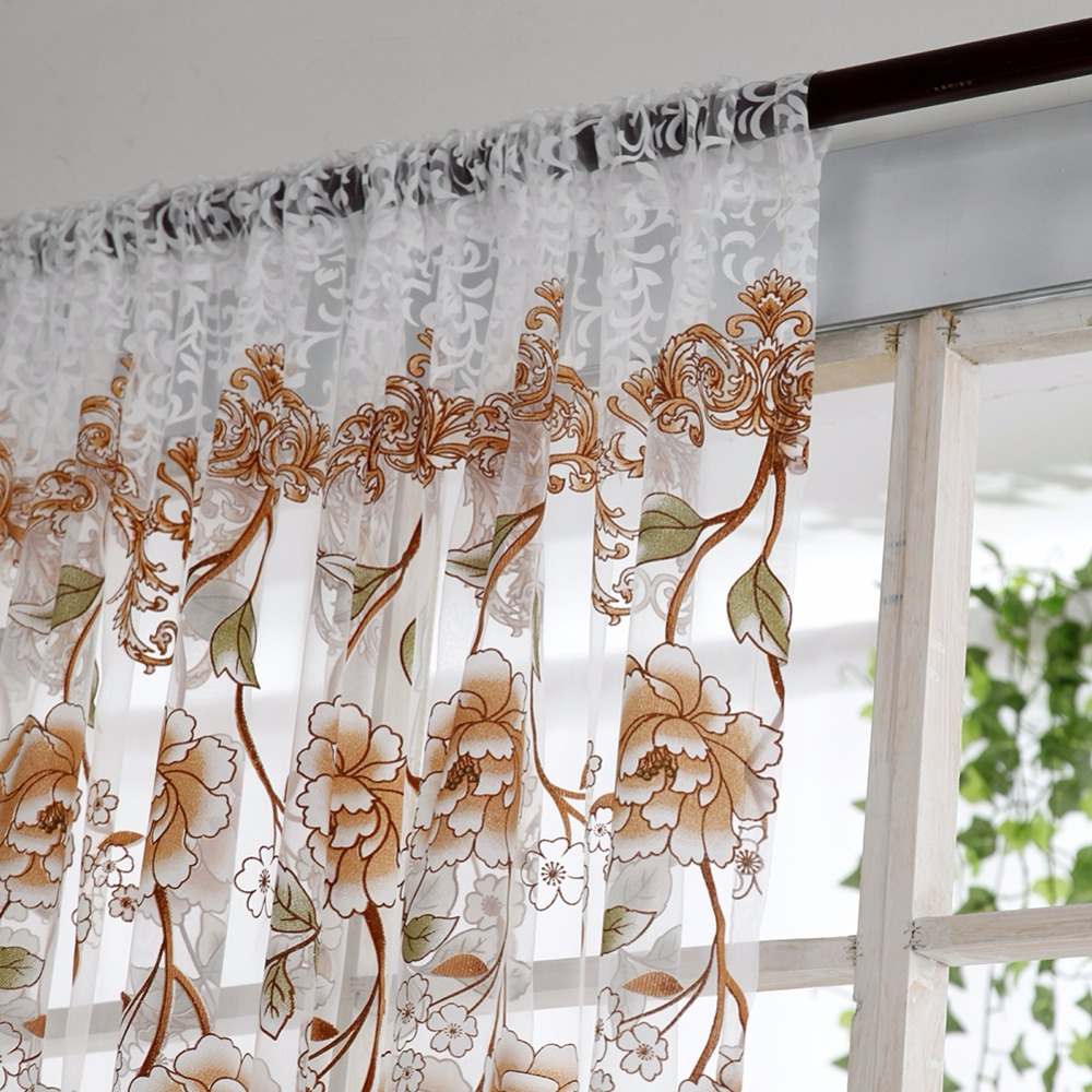 Home Office Window Curtain Flower Print Divider Tulle Voile Drape Panel Sheer Scarf Valances Curtains stylish rose leaf tassel voile scarf