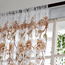 Home Office Window Curtain Flower Print Divider Tulle Voile Drape Panel Sheer Scarf Valances Curtains casual poppy print voile scarf