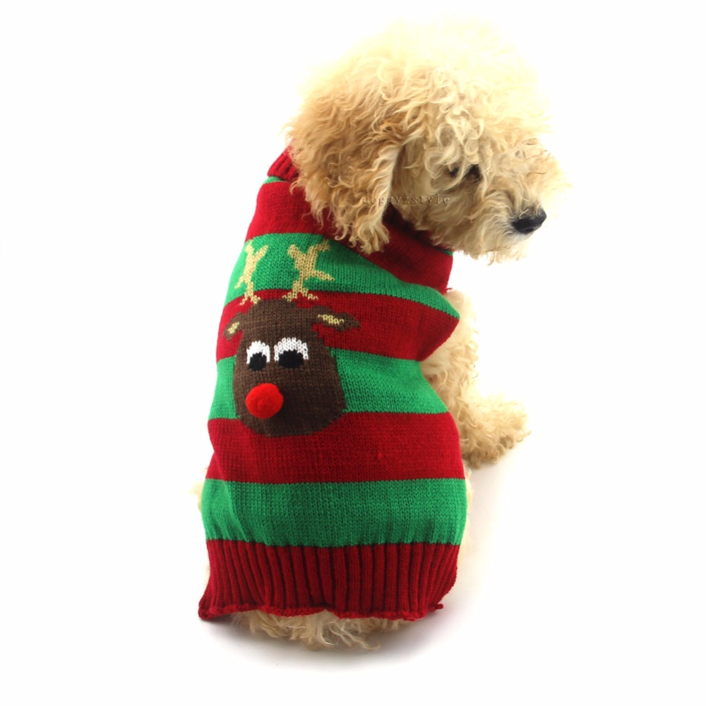 1 pcs christmas pet cat dog sweater reindeer pattern jumper for dogs stripe winter clothes for small medium large - Large Dog Christmas Sweaters