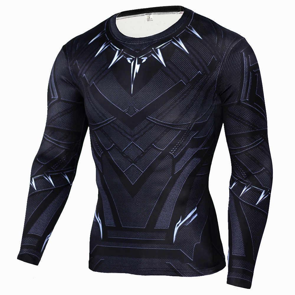 Черная пантера футболки с 3D-принтом Капитан Америка Civil War Тройник длинный рукав косплей костюмы на Хэллоуин утягивающие футболки для мужчин