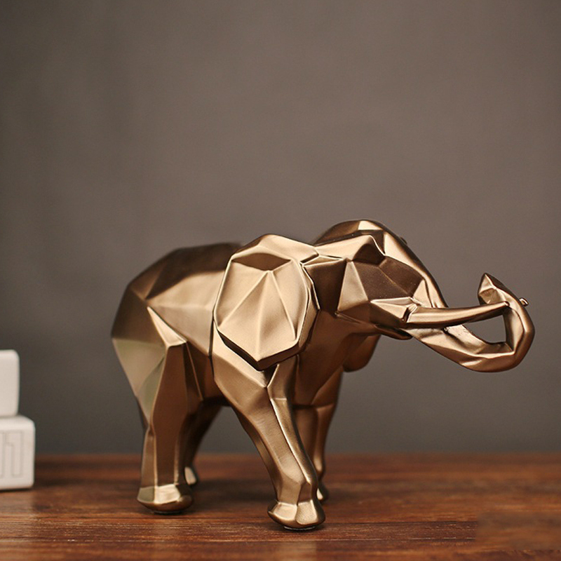 Fashion Abstract Gold Elephant Statue Resin Ornaments Home Decoration Accessories Gift Geometric Elephant Sculpture Crafts room Статуя