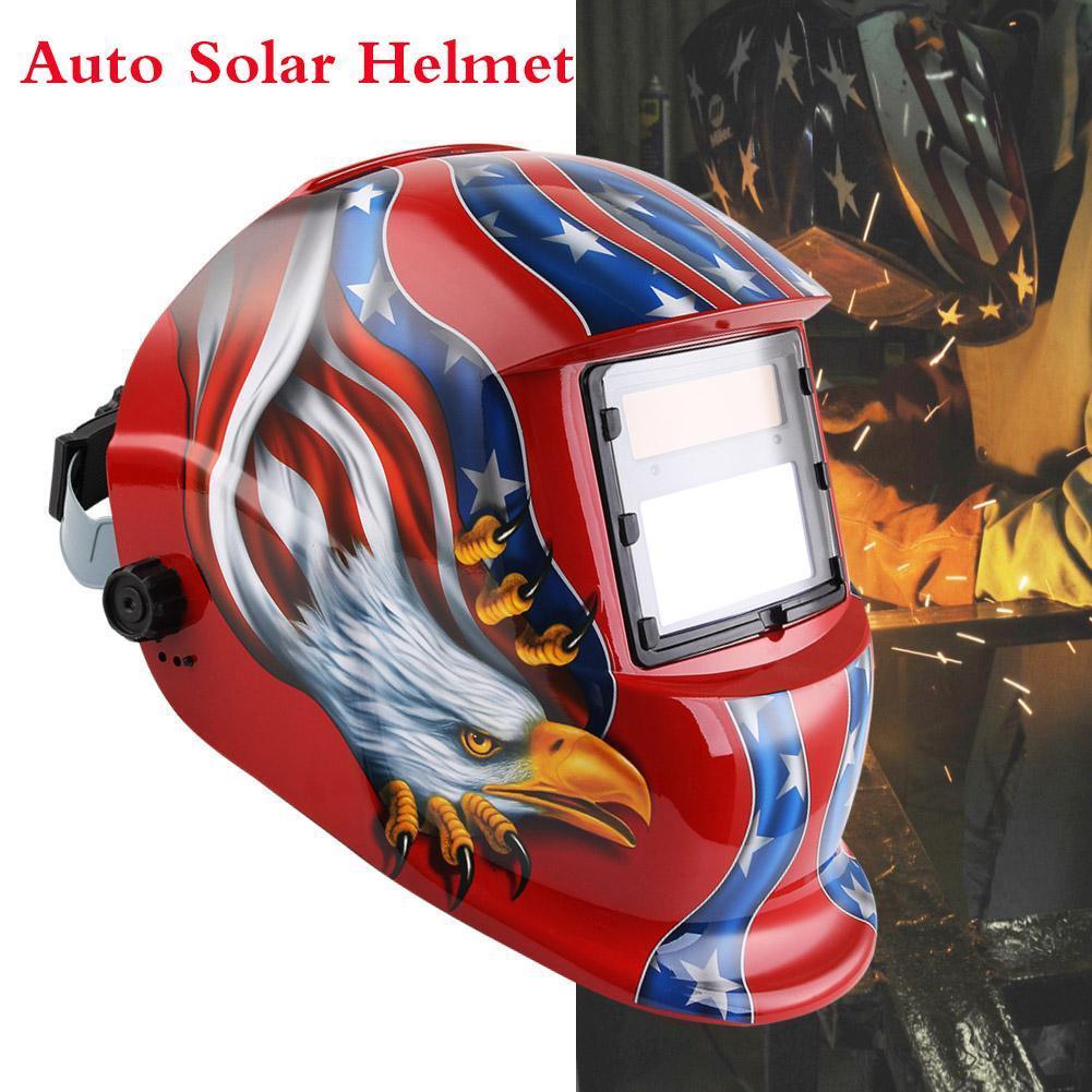 Solar Auto Darkening Welding Helmet TIG MIG Weld Welder Lens Grinding Electric Welding Mask Welder Cap Soldering Supply #4 A391