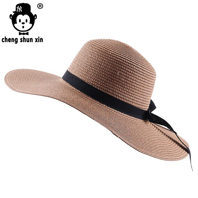 0b2f342df30 2017~Spring Wholesale and Retail Fashion Women Wide Large Brim Floppy  Summer Beach SunHats Straw Cap with big bow Sun Hat