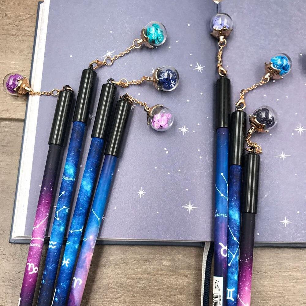 1Pcs Novelty Gel Pen Twelve Zodiac Star Shard Wishing Bottle Pendant Black Ink Pen Stationery