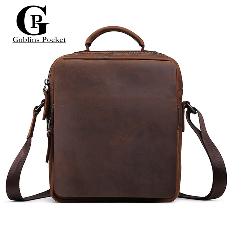 ФОТО Cowhide! Men Business Totes Briefcase Genuine Leather Vintage Shoulder Messenger Bags Crazy Horse Leather Men's CROSSBODY Bag