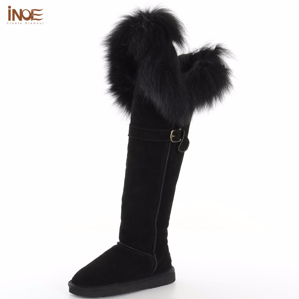 INOE new fashion thigh cow suede leather suede natural fox fur over the knee long winter snow boots for women high winter shoes inoe fashion big fox fur real cow split leather high winter snow boots for women winter shoes tall boots waterproof high quality