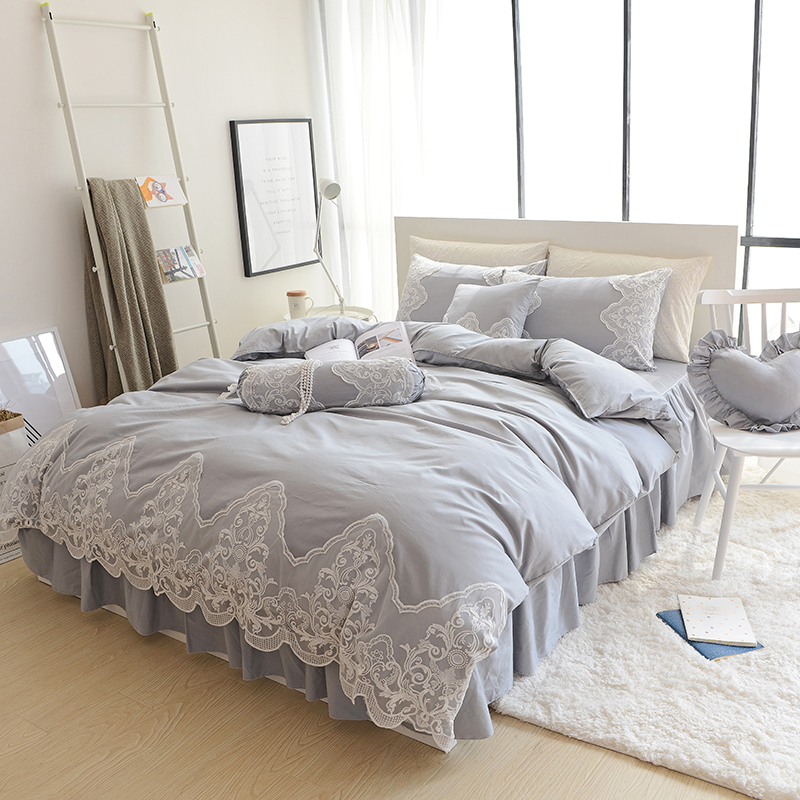 Grey pink blue purple cotton+lace bedding set full queen king size - Home Textile - Photo 2