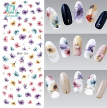 Art Nails DS255 DIY transferência Designer Água traseiro colorido roxo da fantasia Flores prego Quebra Foil Sticker manicure adesivos