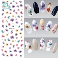 Rocooart DS255 DIY Przenieś Nails Art Naklejki Kolorowe Fioletowy Fantacy Kwiaty Paznokci Naklejki Okłady Folia Naklejka manicure