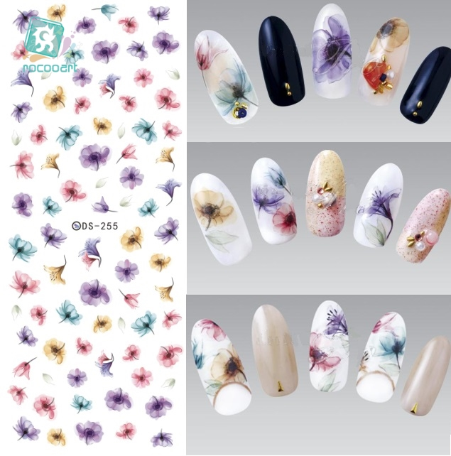 ds238 diy designer beauty water transfer nails art sticker pineapple rabbit harajuku nail wraps foil sticker taty stickers Rocooart DS255 DIY Water Transfer Nails Art Sticker Colorful Purple Fantacy Flowers Nail Stickers Wraps Foil Sticker manicure