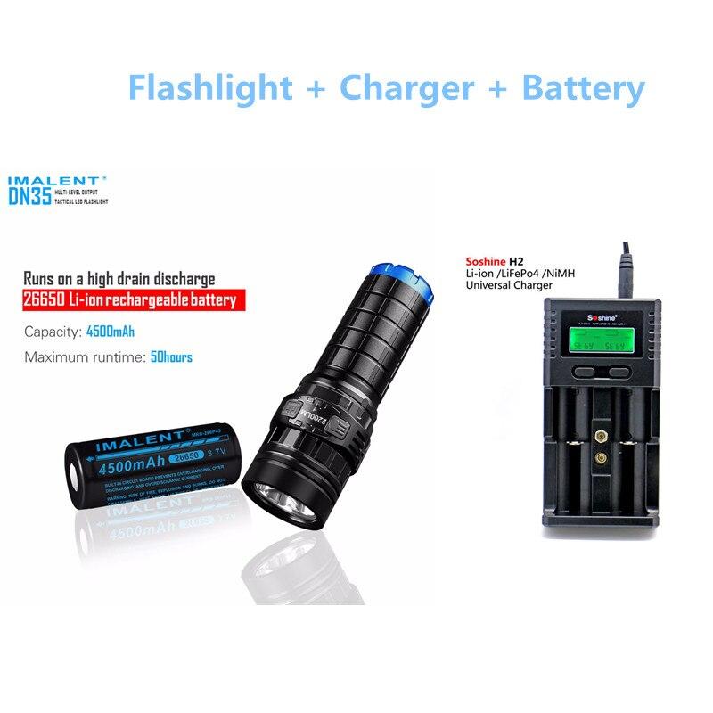 Tactique torche IMALENT DN35 max. 2200LM XHP35 SALUT LED faisceau jeter 596 M lampe de poche avec 4500 mAh 26650 batterie + Soshine H2 chargeur