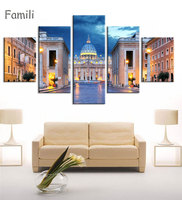 5pcs Set Canvas Fabric Poster Print Italy Beautiful Landscapes For Wall Art Room Decor Home Decoration