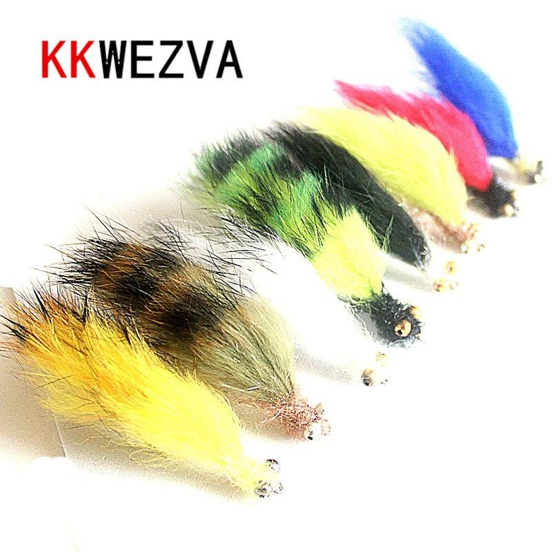 KKWEZVA 8 pcs Fourrure De Lapin Lièvre Zonker Rayures pour montage de Mouches Matériel Production Streamer Mouches De Pêche mouche de pêche Insectes leurre