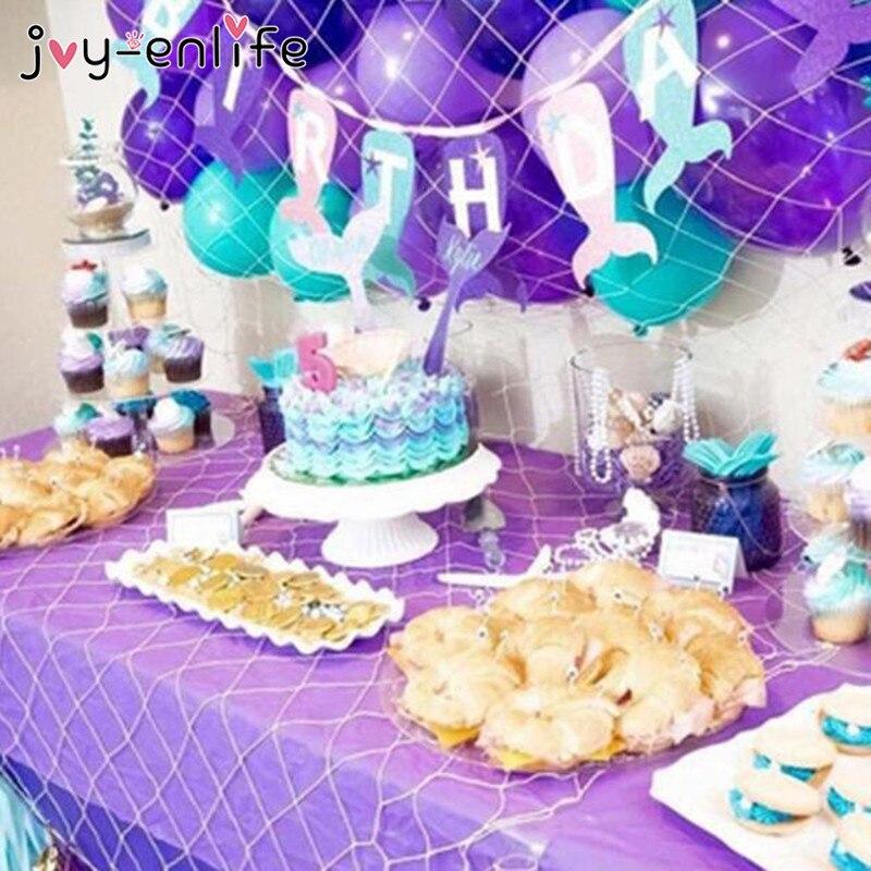 JOY-ENLIFE Pretty Purple Mermaids Theme Party Garland Girl Boy Birthday Party Hat Latex Ballons Baby Shower Cake Topper Decor
