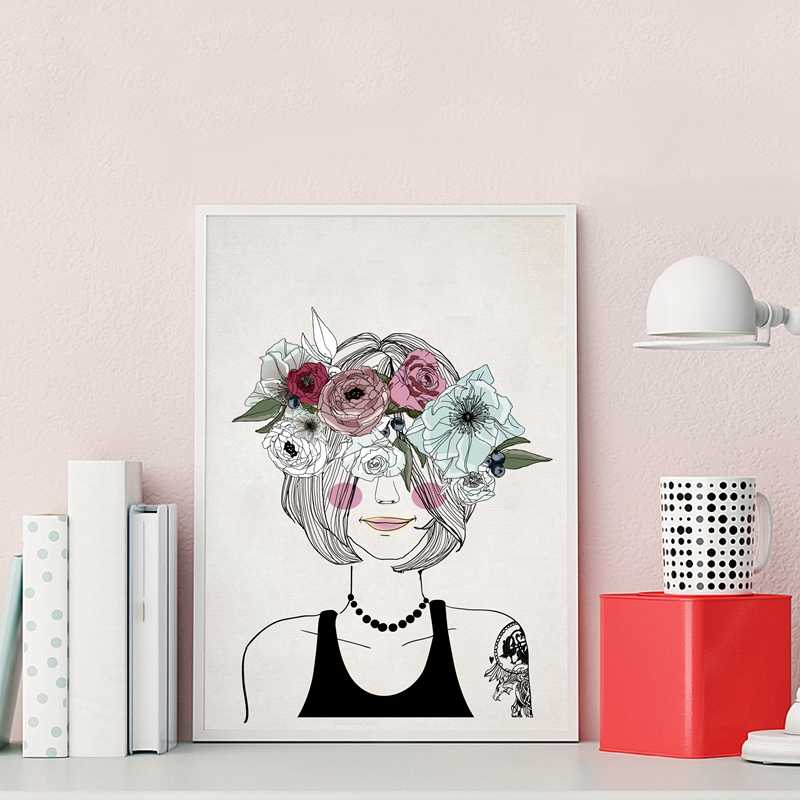 Girl Hair Decoration Canvas Art Print Poster, Beautiful Girl With Flowers Canvas Painting Pictures Girls Room Wall Decor