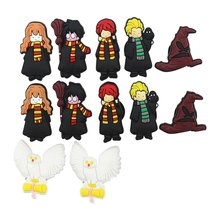 14 Pcs PVC Harry Potter  Shoe accessories Shoe Charms Shoe Decorations  for Croc Bracelet Wristband Kid Gift
