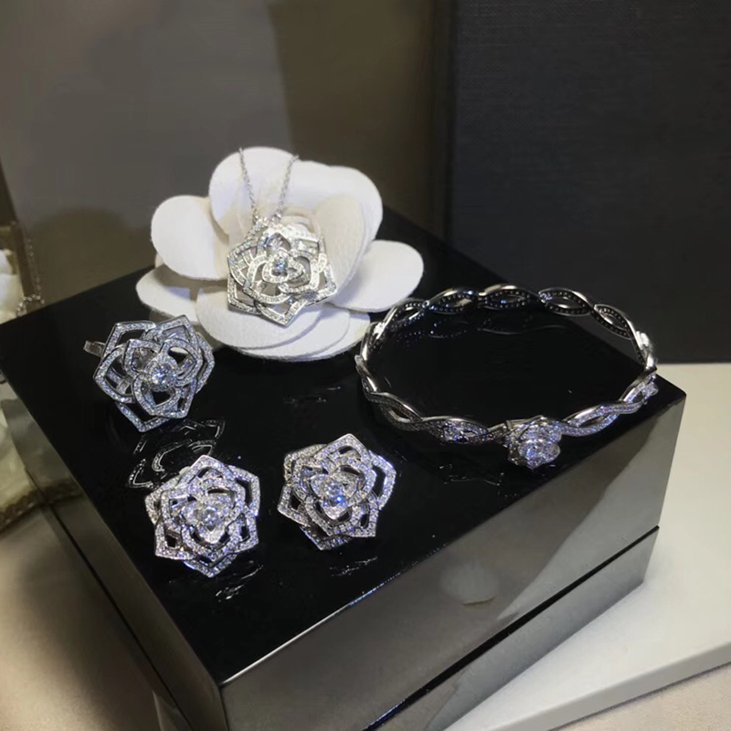 Brand Pure 925 Sterling Silver Jewelry For Women Rose Flower Wedding Jewelry Set Rose Flower Neckacle Earrings Bracelet Ring Set brand white shell crystal star chain ring 925 sterling silver pearl shell rose compass cuff ring women wedding vents jewelry