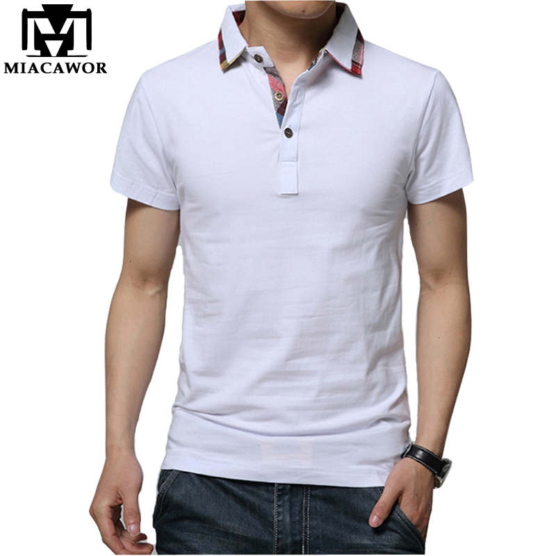 MIACAWOR High Quality Cotton Men   Polo   shirts 2019 Summer Short-sleeve Homme Casual Men Camisa Masculina Size 5XL MT569