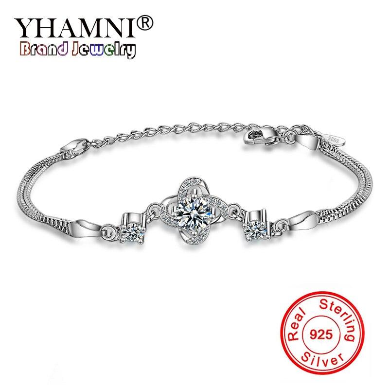 YHAMNI Solide 925 Bijoux En Argent Sterling Bracelet Pour Femmes Mode Ethnique Perles Bracelets & Bangles Bijoux Cadeau YSL018