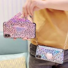 wallet card case for iphone 7 8 6s 6 plus XR X XS MAX case cover laser lattice shoulder strap tpu+pc holder phone bag capa molan cano card bumper card holder pc tpu phone case for iphone7 plus black