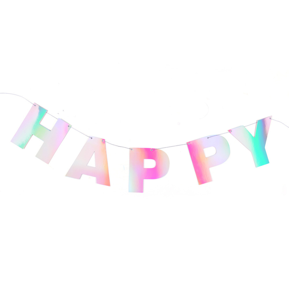 Iridescent Bunting Banners UNICORN PARTY GARLANDS Birthday Party Decorations