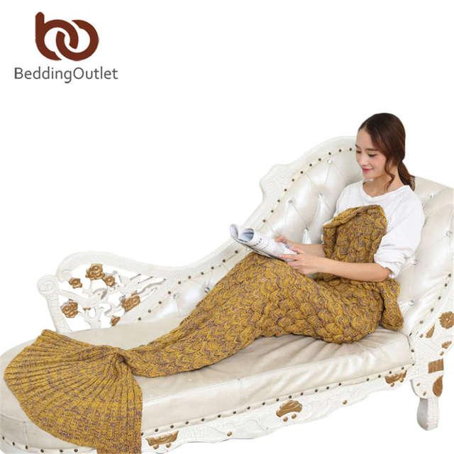 BeddingOutlet Handmade Yarn Knitted Mermaid Tail Blanket