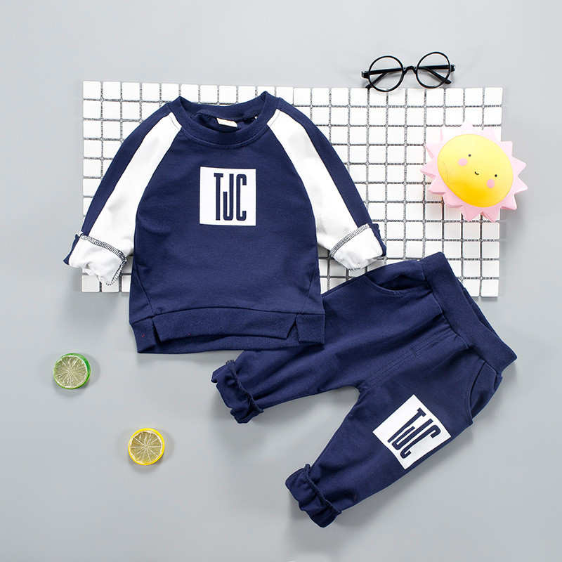 Dapchild Kid Clothing Sets Fashion Childrens Sports Suits English Letter Long Sleeve Tops With Pants Cotton Tracksuit For Boy