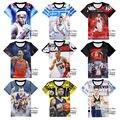 Высокое качество подростков футболки мода баскетбол стиль с коротким рукавом 3d печать футболки мальчиков одежда топы 11-19 лет