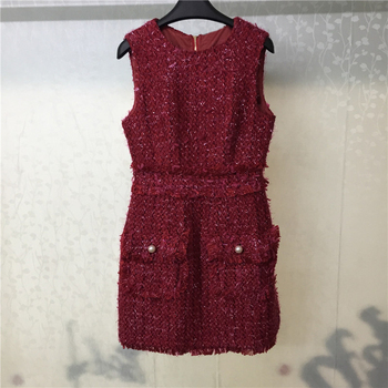 ceac48a45 Las mujeres de vestido de Otoño de cuello sin mangas damas vestido 2018 de  moda Mini vestido rojo