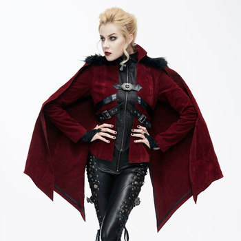 Devil Fashion Autumn Winter Coat Women Gothic Halloween Bat Style Cloak With Fur Shawl Steampunk Jackets