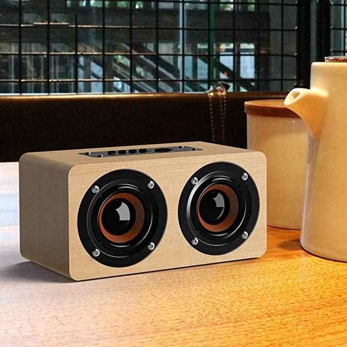 المحمولة الخشب سمّاعات بلوتوث مع مركبتي ستيريو الصوت ، 1500mAh يدويا الرجعية اللاسلكية تصميم مع المزدوج السلبي مضخم صوت