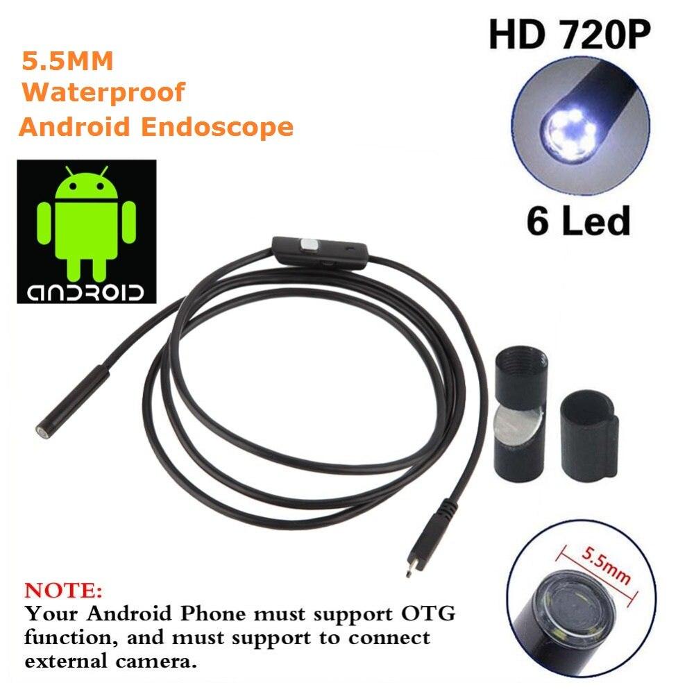 imágenes para 5.5mm 2 M Mini USB Endoscoop IP67 Waterdichte HD Animascopio de La Cámara Inspectie Alcance 6 Witte LEDs 720 P Buis Voor PC Android Telefo