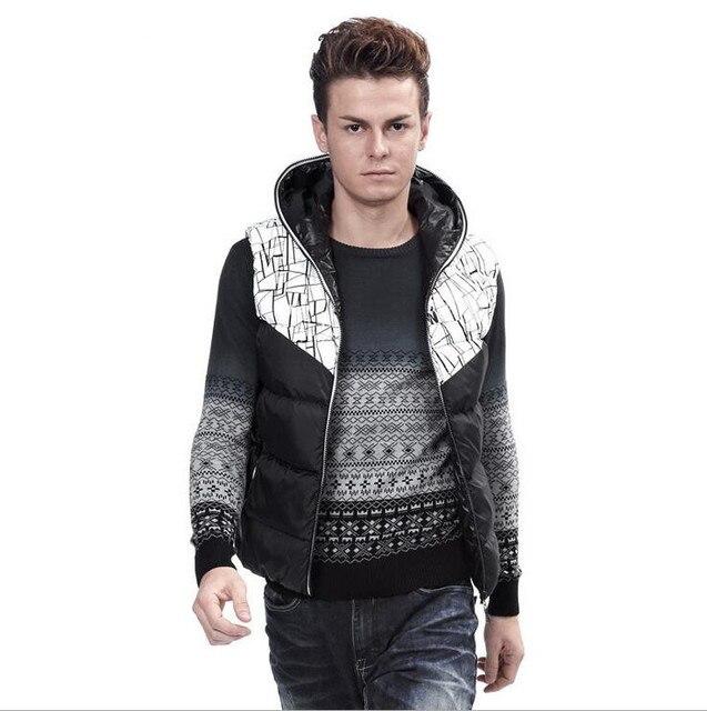 2016 Весной И Зимой Новое Прибытие Двусторонний мужской Зимней Моды Супер Большой Жилет С Капюшоном Стеганый Жилет Мужской A2392