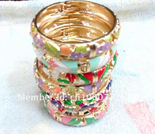 Free Shipping! Wholesale 50pcs/lot traditional Chinese crafts Cloisonne enamel bracelets bangles free open delicate flowers