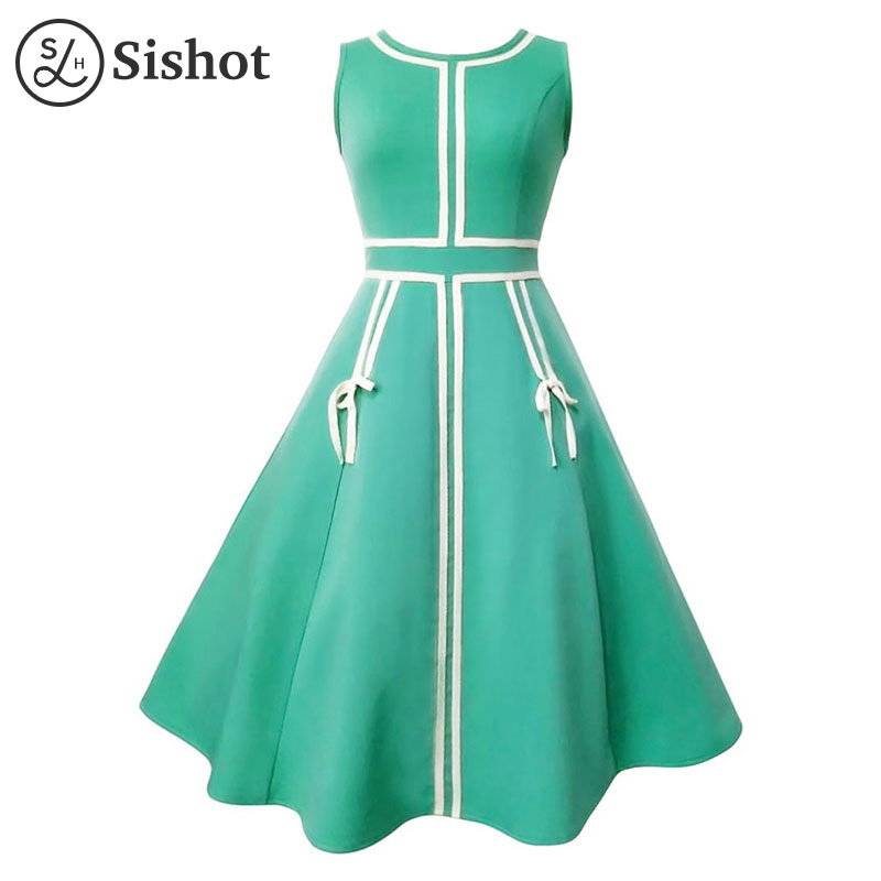 Sishot women vintage dresses 2017 summer autumn green sleeveless lace up stripe mid calf white color block a line retro dress