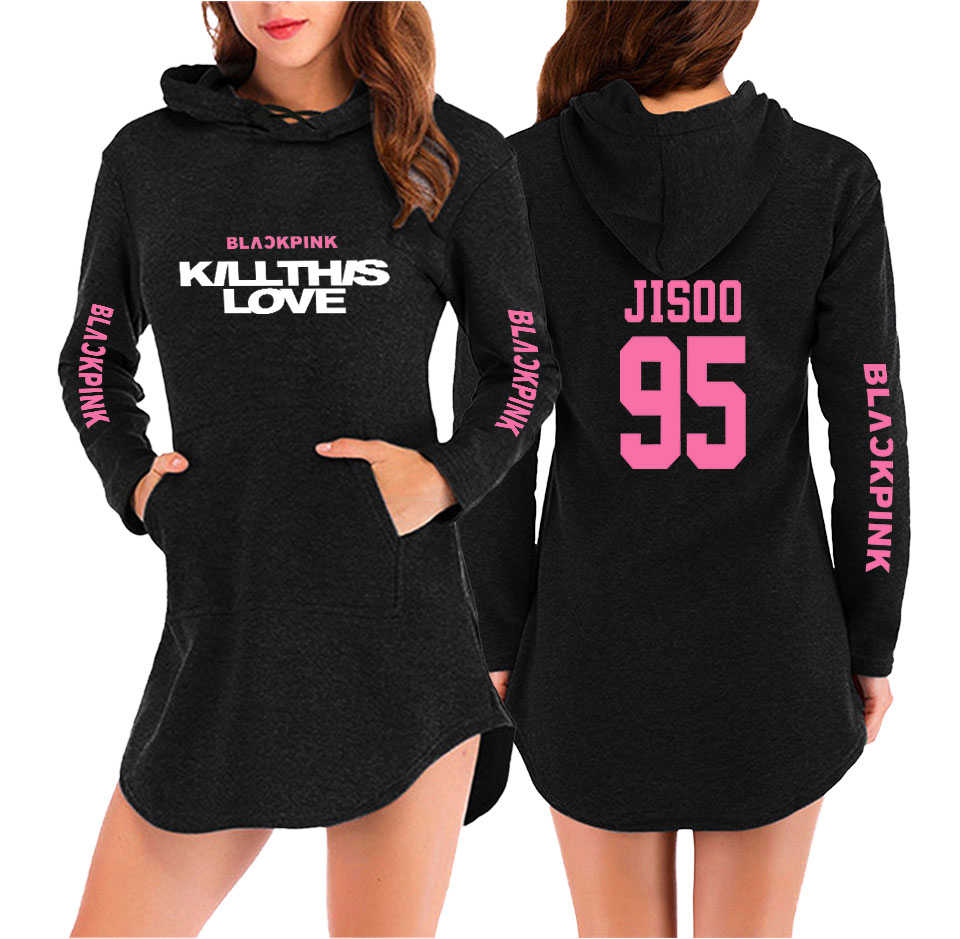 Kpop Blackpink KILLTHISLOVE Hooded Dress Dress Women's Long-sleeved Hoodie 2019 New Harajuku Dress Hip Hop Casual Streetwear