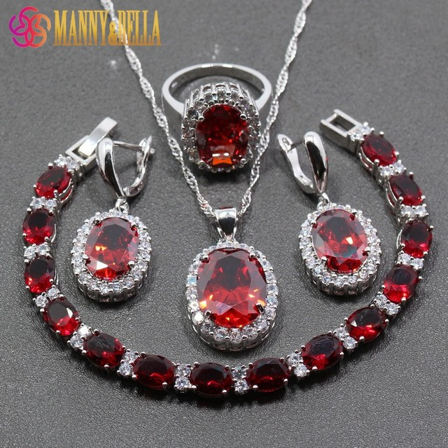 925 Sterling Silver Trendy  Women Wedding 4PCS Jewelry Sets Red Garnet Ring Size 6/7/8/9/10 Bracelet Length 19CM  JS28