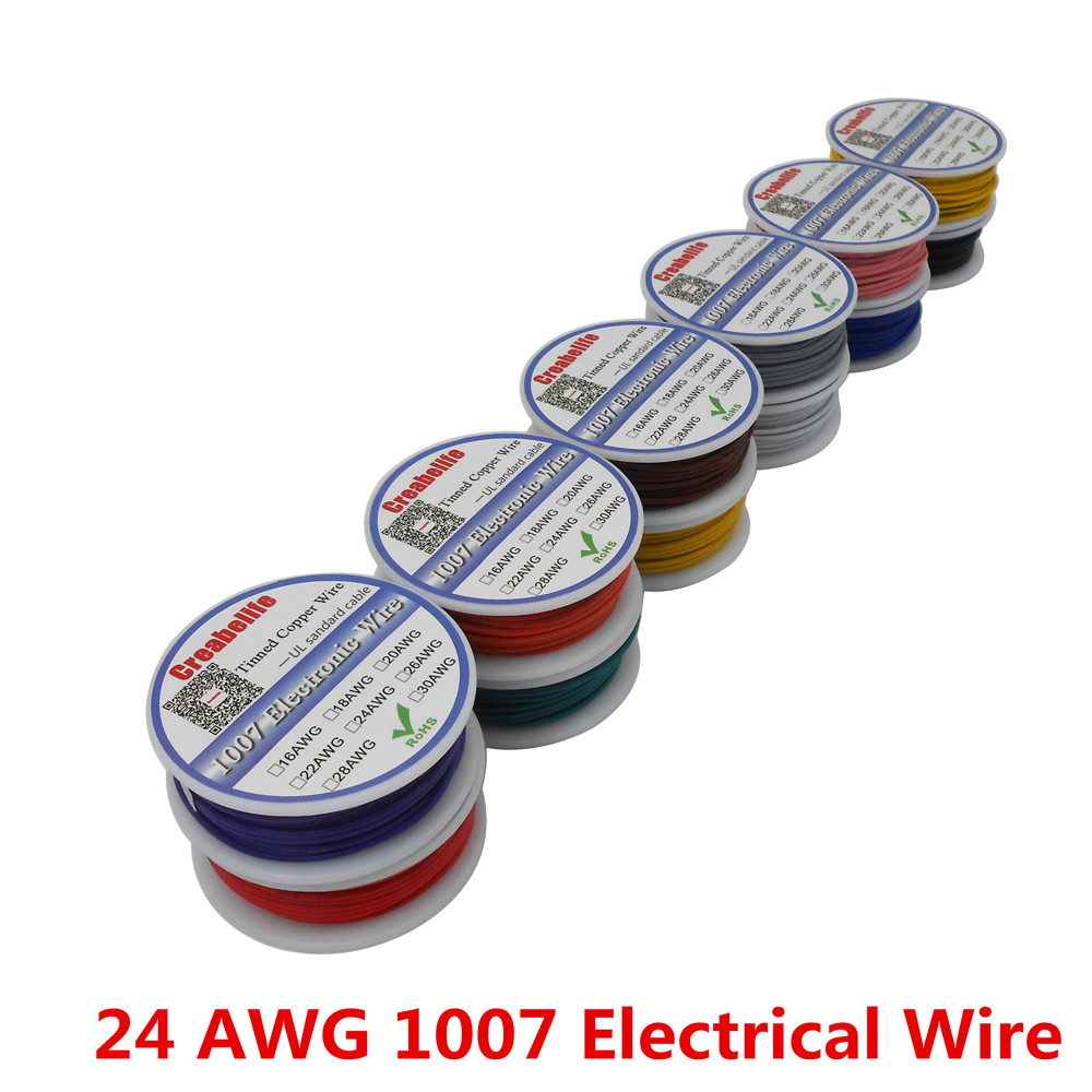 10m/ UL 1007 24AWG 12 Colors Select Spool Package Electrical Wire Cable Line Airline Tinned Copper PCB Wire RoHS Wire professional electric rotary permanent makeup tattoo machine microblading eyebrow lips tattoo machine pen body art tool